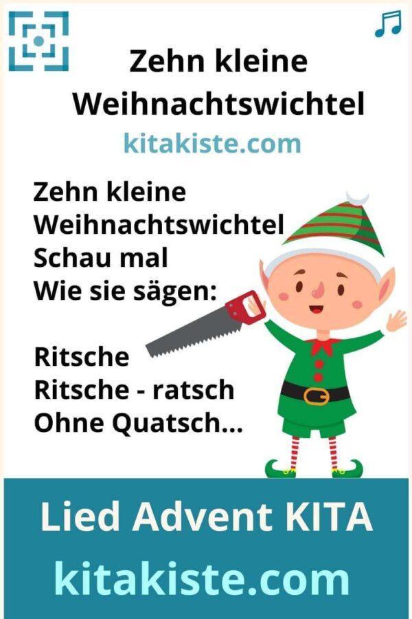 Kinderlied Advent Kindergarten Weihnachtswichtel