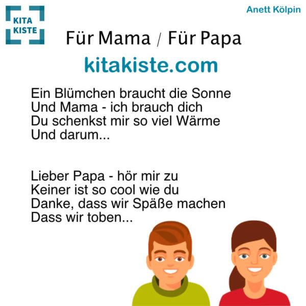 Reim Muttertag Vatertag Kita Voransicht