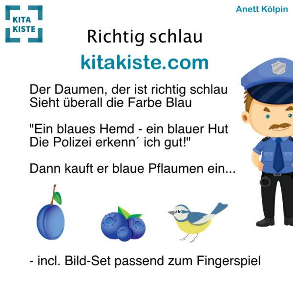 Fingerspiel Farbe blau Kindergarten Voransciht